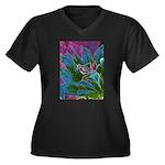 Praying Mantis Women's Plus Size V-Neck Dark T-Shi