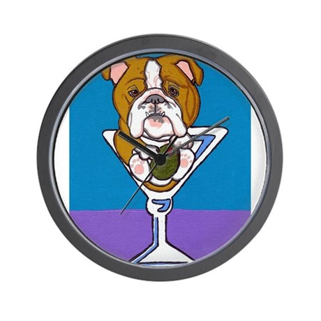 English Bulldog Martini Wall Clock