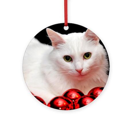 Xmas Cat Ornament (Round)