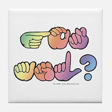 Got ASL? Pastel SQ Tile Coaster