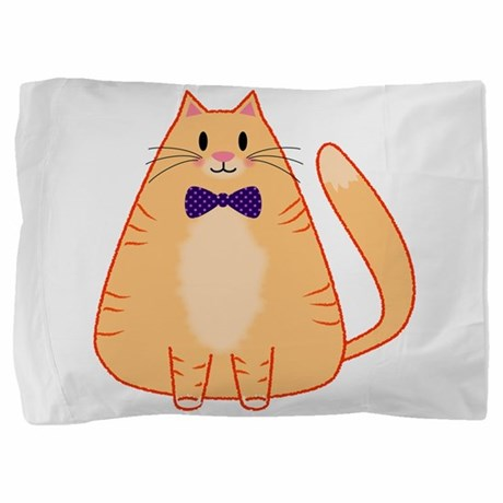 Orange Cat with Bow Tie Pillow Sham