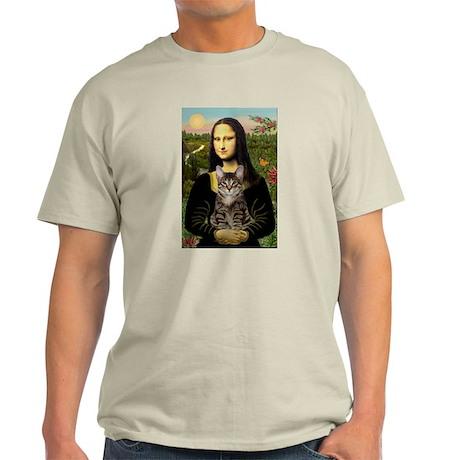 Mona Lisa & her Tiger Cat Ash Grey T-Shirt