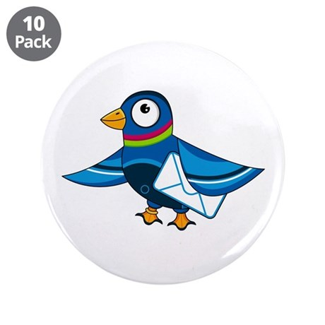 "Cute Mail Pigeon 3.5"" Button (10 pack)"
