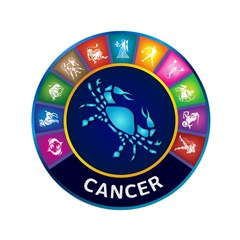 """Cancer Sign 3.5"""" Button"""