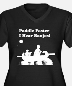 Paddle Faster Women's Plus Size V-Neck Dark T-Shir