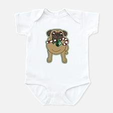 Candy Cane Pug Infant Bodysuit