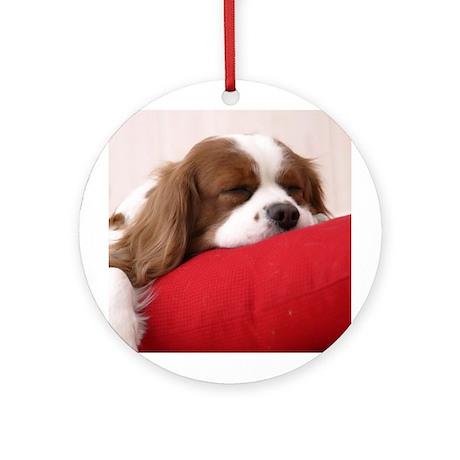 SLEEPING SPANIEL PUPPY Ornament (Round)