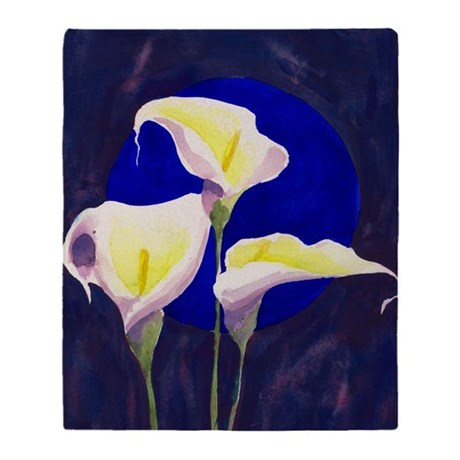 Blue Circle calla lily watercolor Blanket (2-side