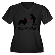 Shetland Sheepdog Women's Plus Size V-Neck Dark T-