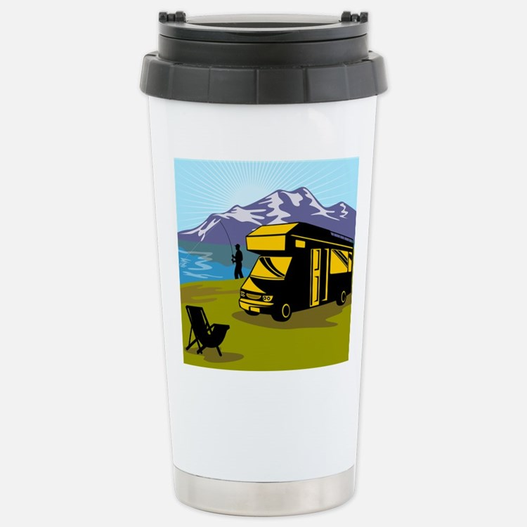 Fly fisherman fishing Travel Mug