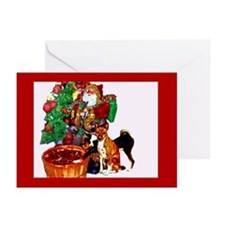 Basenji and Santa Christmas Greeting Cards (Pk of