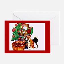 Basenji and Santa Christmas Greeting Card