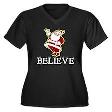 Believe Santa Women's Plus Size V-Neck Dark T-Shir