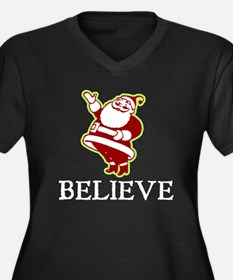 Believe Santa Women's Plus Size V-Neck Dark T-Shir
