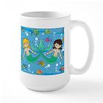 Cute Mermaids and Tropical Fish Large Coffee Mug
