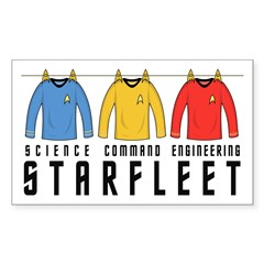 Starfleet Uniforms Sticker (Rectangle 10 pk)