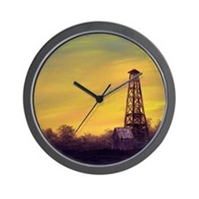 'Old Derrick Sunset' Wall Clock