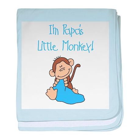 Blue Papa's Little Monkey baby blanket