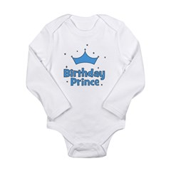 Birthday Prince! w/ Crown Long Sleeve Infant Bodys