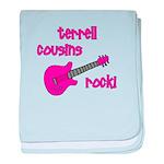 Cousins Rock! pink guitar baby blanket
