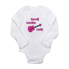 Cousins Rock! pink guitar Long Sleeve Infant Bodys