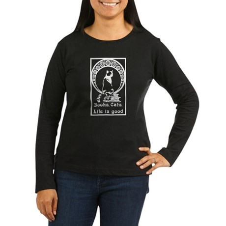 Books,Cats,life is good on black Women's Long Slee