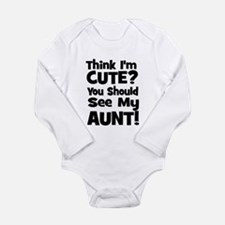 Think I'm Cute? Aunt - Black Baby Outfits