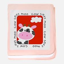 Cow Says Moo baby blanket