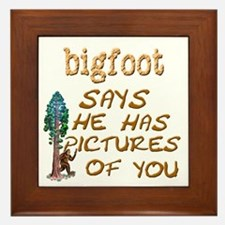 Bigfoot Has Pictures Framed Tile