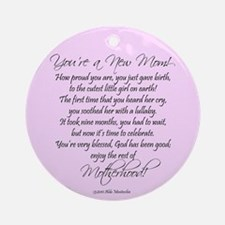 New Mom - Baby Girl Ornament (Round)