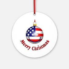 Merry Christmas Flag Ornament (Round)