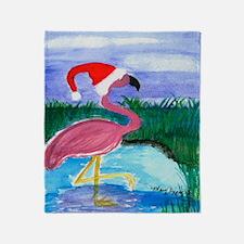 Santa Flamingo Christmas throw Blanket
