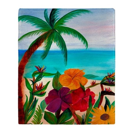 Tropical Floral Beach Throw Blanket From Art