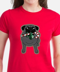 Candy Cane Pug in Black Tee