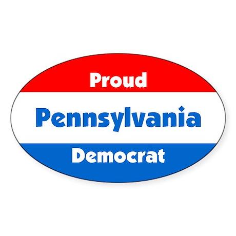 Proud Pennsylvania Democrat Oval Sticker