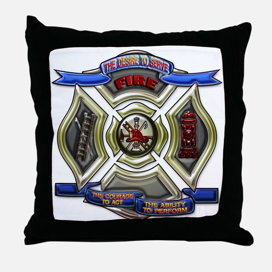 Throw Pillow Firefighter Emergency Fire Rescue