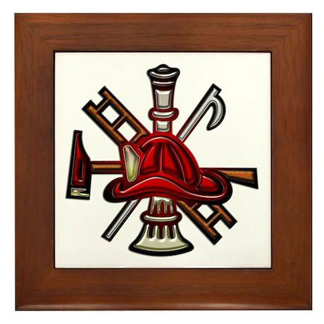 Framed Tile Firefighter Graphic Symbols Tools