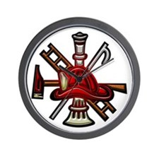 Wall Clock Firefighter Graphic Symbols Tools