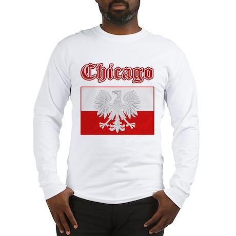 Chicago Polish Flag Long Sleeve T-Shirt