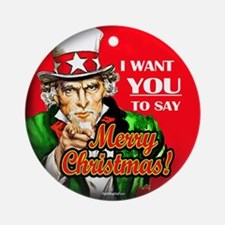 Uncle Sam - I Want You to say Ornament (Round)