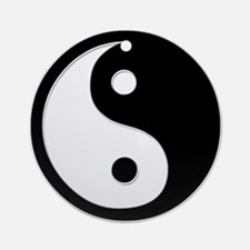 Black Yin Yang Ornament (Round)