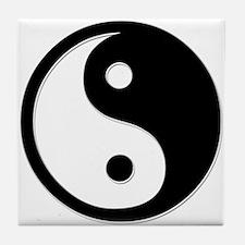 Black Yin Yang Tile Coaster