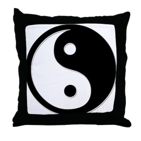 Black Yin Yang Throw Pillow