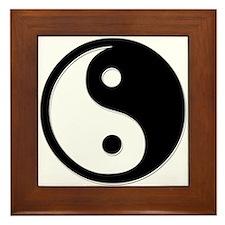 Black Yin Yang Framed Tile