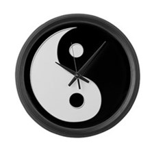 Black Yin Yang Large Wall Clock