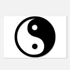 Black Yin Yang Postcards (Package of 8)