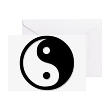 Black Yin Yang Greeting Card