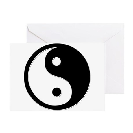 Black Yin Yang Greeting Card