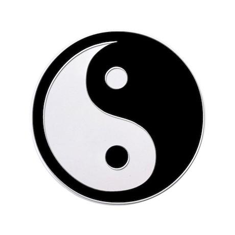 """Black Yin Yang 3.5"""" Button (100 pack)"""
