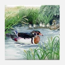Wood Duck Family Tile Coaster